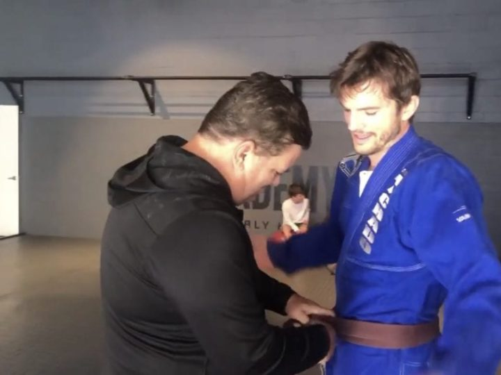 Ashton Kutcher receives BJJ Brown Belt from Rigan Machado
